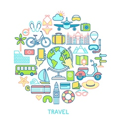 Travel set -line icons vector