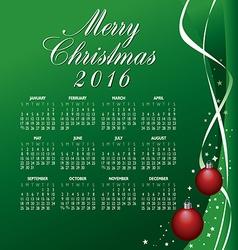 2016 Merry Christmas Calendar vector image