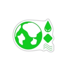 Paper sticker on white background earth eco vector