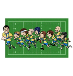 Cartoon rugby team vector