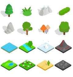 Landscape icons set isometric 3d style vector