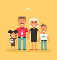 A family of four Mom dad son daughter Colored flat vector image