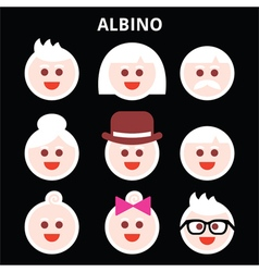 Albino people albinism icons set vector