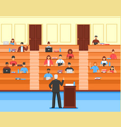 Audience conference hall composition vector