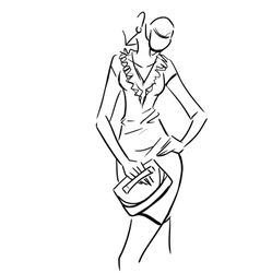 Beautiful sexy lady in short dress with clutch vector