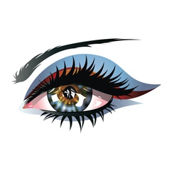 Blue eye with makeup vector