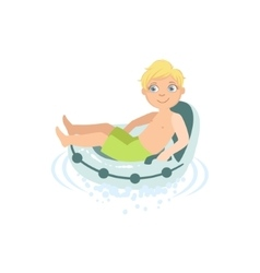 Boy Relaxing In Water On Air Armchair vector image