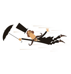 cartoon man and windy day isolated vector image vector image
