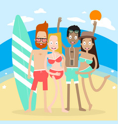 character people on the beach vector image vector image