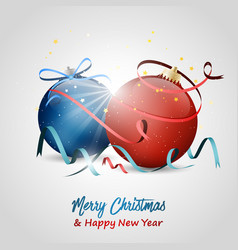 christmas and new year wishes baubles stars bow vector image vector image