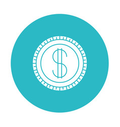 Circle light blue with coin icon vector