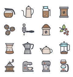 Coffee icon bold stroke with color vector