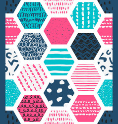 Colorful seamless patterns with honeycombs vector