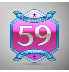 Fifty nine years anniversary celebration silver vector