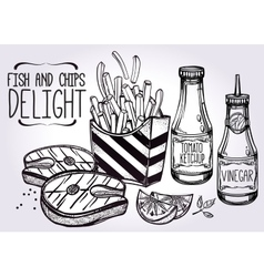 Fish and chips set vector