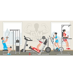 Flat gym interior vector