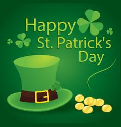happy saint patricks day 17 march with leprechaun vector image