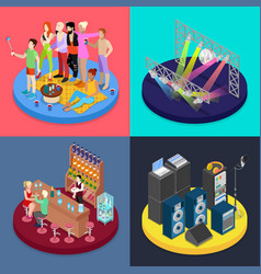 Isometric party concept night club scene vector
