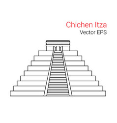 Line flat icon of chichen itza mexico vector