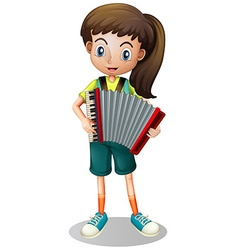 Little girl playing accordion vector
