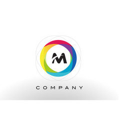M letter logo with rainbow circle design vector