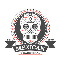 mexican vintage isolated label with sugar skull vector image vector image