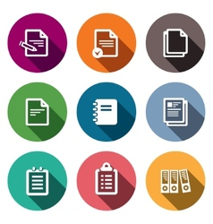 Notepad paper documents icons set vector image