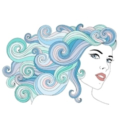 Portrait of young beautiful woman with with waves vector image vector image