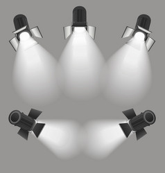 Realistic light scenic spotlight set vector