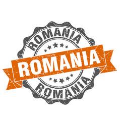 Romania round ribbon seal vector