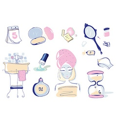 Set of 10 health and beauty objects vector