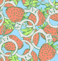 Sketch handcuffs and strawberry in vintage style vector image