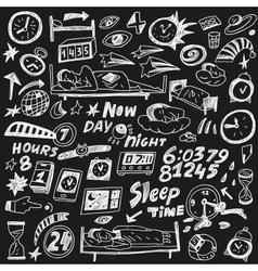 Sleep time - doodles set vector