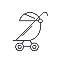stroller buggy line icon sign vector image