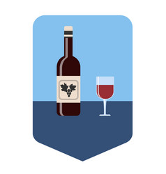 The bottle and a glass of wine with wine vector
