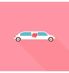 Wedding limousine icon flat style vector