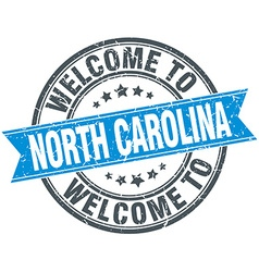 Welcome to north carolina blue round vintage stamp vector