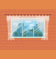Window with city landscape and trees view outside vector