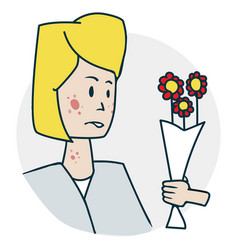 Woman is allergic to flowers vector