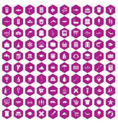 100 fish icons hexagon violet vector