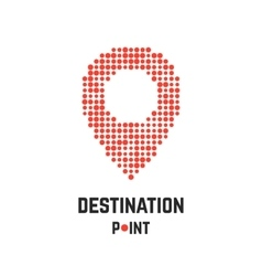 destination point with pin from dots vector image