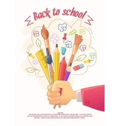 Big sale of stationery for school and handmade vector