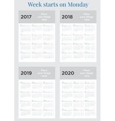 2017 calendar planner week starts on monday vector