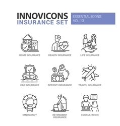 Types of insurance line design icons set vector image