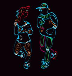 man and woman jogging vector image