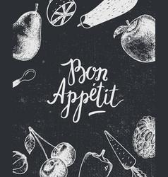 Bon appetit poster banner black and white vector