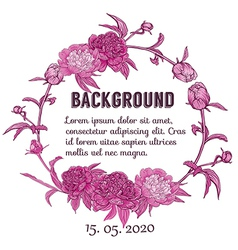 Round floral retro frame vector image