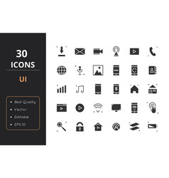 30 ui solid icons vector image