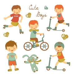 Cute little boys vector