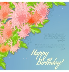 Floral decorative card with chrysanthemum vector